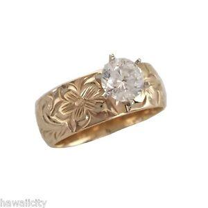 Hawaiian Heirloom Jewelry 14k Gold 8mm Cubic Zirconia Wedding Engagement Ring