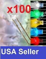 Lot of 100 PCS 5mm round White Red Yellow Green Blue LED super bright bulb light