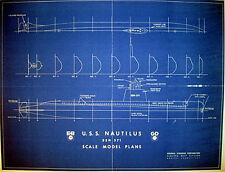 Vintage Nuclear Submarine USS Nautilus SSN-571 Blueprint Plan 17 x21  (195)