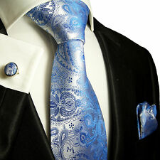 Krawatten Set 3tlg blau paisley SEIDE Paul Malone 428