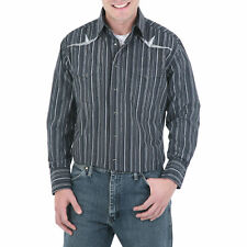 WRANGLER Mens EMBROIDERED YOKE Shirt - 2XL - Black Gray - 75940BK
