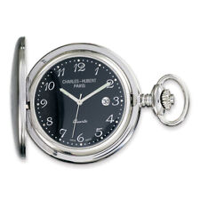 Charles Hubert Stainless Steel Black Dial Pocket Watch XWA1904