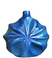 Vintage Mid Century Blue 1960s Ombré Glazed Art Pottery Vase Wavy Round Marked