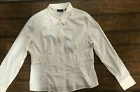 New York & Co Stretch Wms blouse, white, long sleeve, beaded detail, size XL