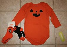NWT Gymboree Boys 12 - 18 Months Pumpkin Halloween Body Suit and Socks