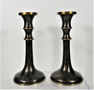 Chinese Black Enamel Cloisonne ~ Pair Candleholders Candlesticks