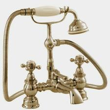 Traditional Victorian Edwardian Deck Mounted Bath Shower Mixer Tap Gold