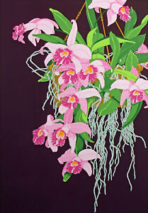 """Tjelda Michas """"Pink Laelia Orchid"""" Hand Signed Floral Art Serigraph 1981 OBO"""