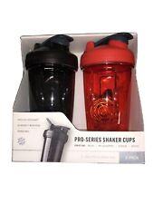 2X, Blender Bottle Pro Series Shaker Cups with Blenderball 24 oz, Red & Black