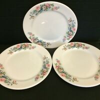 3 Syracuse Restaurant Ware Luncheon Plates Floral Pink Green Blue on White Ex 9""