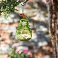 Green Pear Hanging Glass Bird Seed Feeder Garden Tree Bush Decoration
