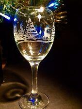 Christmas Wine Glass Glasses Winter Engraved Reindeer Trees Stars Gift Boxed
