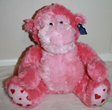 """Pink Gorilla with Hearts 10"""" Soft Plush Stuffed Animal by Applause New"""