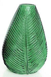 Table Vase Green Leaf Design Glass Flower Pot Home Display Decor Ornament 22cm