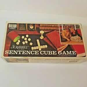 Vintage, 1971 Scrabble Sentence Cube Game, Complete, Wood Word Cubes, Family Fun