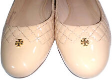Tory Burch Kent Ballerina Beige Gold Logo Reva Leather Ballet Flats Shoe 10- 40