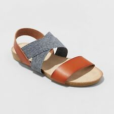 Women's Kerryn Wide Width Footbed Sandals - Universal Thread™ Cognac & Denim 11W