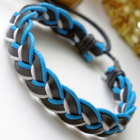 """Black plaited leather wristband bracelet 1.5/"""" wide  fits 7.25/"""" to 8.25/"""" LB0249"""