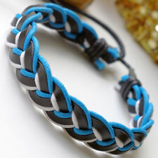 Mens Leather and Hemp Plaited Surfer Wristband Bracelet
