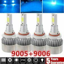 Combo 9005 9006 Ice Blue 8000K COB LED Headlight Kit Bulbs High Low Beam US