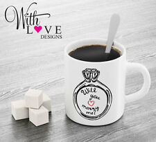 WILL YOU MARRY ME RING COFFEE MUG TEA CUP PERSONALISED WEDDING ENGAGEMENT GIFT