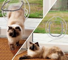 NEW 4 Way Round Locking Flap Pet Door Cat Flap Small Dog For Glass Window/Door