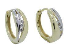 Creolen Klappcreolen Scharniercreolen echt Gold 333 8kt bicolor Zirkonia 108220