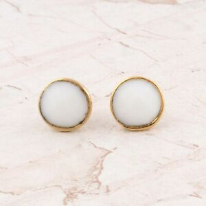 Dainty White Agate Gemstone Yellow Gold Plated Round Shape Stud Earring Pairs