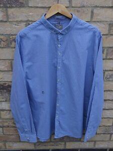 "Fantastic PETER WERTH Men's Blue/White Micro Check Long Sleeve Shirt XXL Fit 46"""