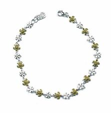 925 Sterling Silver Anklets Plumeria Flower Foot Chain Hawaii Sea Turtle CZ YGP