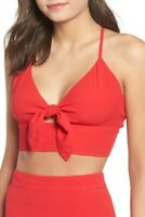 Leith Women Cross Back Crop Top Size XL Red Sleeveless Adjustable Straps Smocked