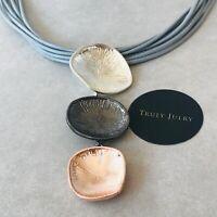 UK Ladies Designer Luxury Grey Triple Circle Multi Strand Necklace Jewellery