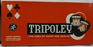 Vintage Tripoley Board Game Cadaco 1961 Crown Edition Complete