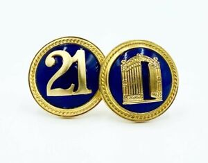 "New Iconic The ""21"" Club Iron Gate NYC Restaurant Blue & Gold Men's Cufflinks"