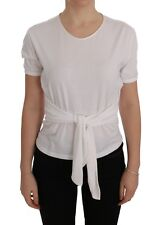 NUOVO DOLCE & GABBANA maglia t-shirt cotone bianco seta scialle IT38/US4 / XS