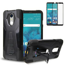 Black Rugged Case w/Stand+Tempered Glass Cover for LG Stylo 4 Q710