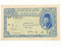 Egypt 10 Piastres 1940 Egyptian King Farouk Banknote - RARE First Series A/4