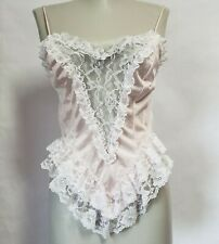 Vintage Pink Camisole White Lace Ruffle Lingerie Womens Medium