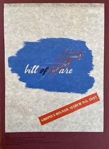 Bauhaus - Walter Gropius 1937 Bill of Fare For His Farewell Dinner in London