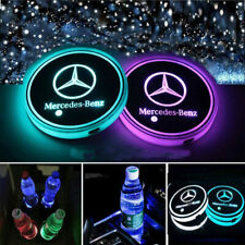 2PCS LED Car Logo Cup Holder Pad 7 Colors Changing Atmosphere Lights for Benz