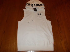 NWT UNDER ARMOUR WHITE FLEECE LINED SLEEVELESS LOOSE FIT HOODIE WOMENS MEDIUM
