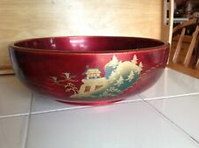 LARGE RED LACQUER WARE SALAD / FRUIT BOWL PAINTED 11