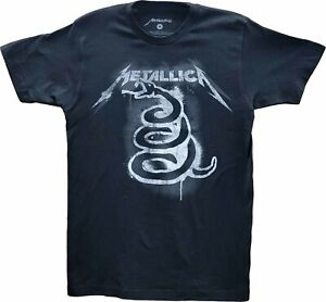 Men's Metallica Black Rock N Roll Album Art Vintage Retro Snake T-Shirt Tee New