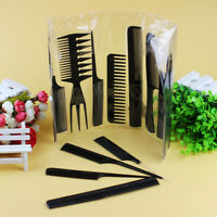 10 Piece Comb Set Hair Styling Professional Black Brush Barbers Equipment