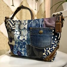 Coach Blue Denim Carly Signature Patchwork Suede Leather Tote Hobo Shoulder Bag