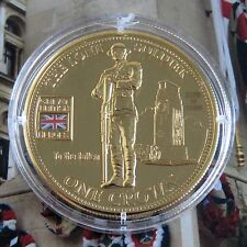 2010 THE LONE SOLDIER BRITISH MILITARY HEROES TDC GOLD LAYERED PROOF CROWN - coa