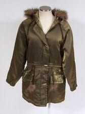 MARIEL Metallic Green Chartreuse Parka Faux Fur Hood Coat Winter Trench Jacket L