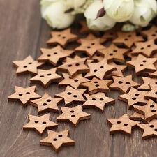 100Pcs 2 Holes DIY Star Shape Wooden Button Scrapbook Craft Sewing Buttons NEW