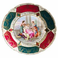 Antique Prov Saxe Plate ES Germany Maiden's Cherub in a Neoclassical scene