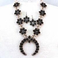 Black Squash Blossom Necklace Set Western Cowgirl Chic Gypsy Native Rodeo